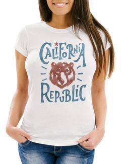 Damen T-Shirt California Republic Bär Grizzlybär Kalifornien Neverless®