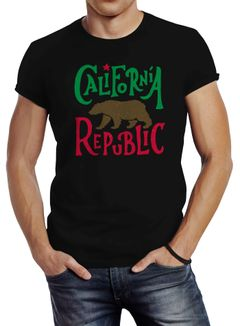 Herren T-Shirt California Republic Bär Grizzlybär Kalifornien Slimfit Neverless®