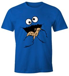 Herren T-Shirt Krümelmonster Keks Cookie Monster Fasching Karneval Kostüm Moonworks®