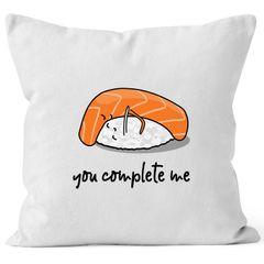 Kissen-Bezug Sushi You complete me Geschenk Freund Freundin Liebe Baumwolle MoonWorks®