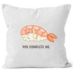 Kissen-Bezug Sushi You complete me Geschenk Valentinstag Freundin Freundin Liebe MoonWorks®