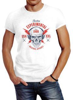Herren T-Shirt Totenkopf Kopfhörer Skull Techno Experimental Music Neverless®