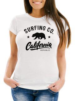 Damen T-Shirt California Republic Bear Bär Sommer Surfing Slim Fit Neverless®