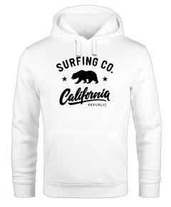 Hoodie Herren California Republic Bear Bär Sommer Surfing Kapuzen-Pullover Männer Neverless®