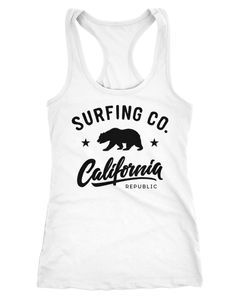 Damen Tank-Top California Republic Bear Bär Sommer Surfing Racerback Neverless®