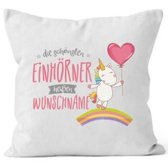 Einhorn Kissen mit Wunschname Personalisierbar Individuell Kissen-Hülle Deko-Kissen Baumwolle MoonWorks®