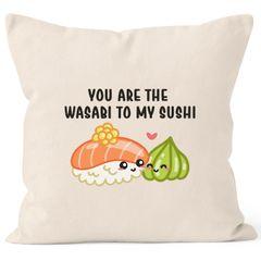 Kissen-Bezug You are the Wasabi to my Sushi Valentinstag Geschenk Kissen-Hülle Deko-Kissen Baumwolle MoonWorks®