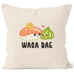 Kissen-Bezug Wasa Bae Wasabi Wasabae Sushi Valentinstag Geschenk Kissen-Hülle Deko-Kissen Baumwolle MoonWorks®