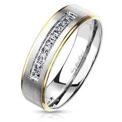 Damen Ring Edelstahl Zirkonia Kristalle Farbrand Herren Bandring Autiga®