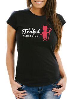 Damen T-Shirt Verkleidet als Teufel Kostüm Fasching Fastnacht Karneval Slim Fit Moonworks®
