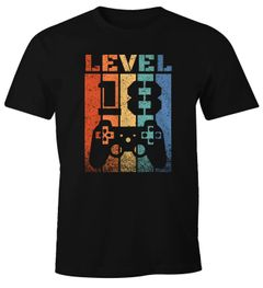 Herren T-Shirt 18 Geburtstag Level Up Pixel Controller Retro Gamer Achtzehn Geschenk Arcade Fun-Shirt Moonworks®