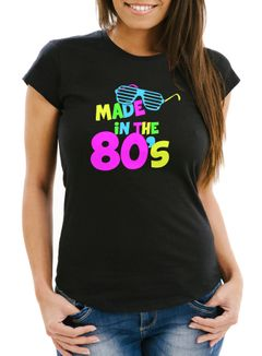 Damen T-Shirt Geburtstag Made in the 80's Retro Eighties Achtziger Geschenk Fun-Shirt Slim Fit Moonworks®
