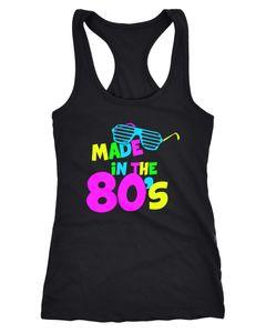 Damen Tanktop Geburtstag Made in the 80's Retro Eighties Achtziger Geschenk Racerback Moonworks®