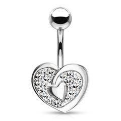Bauchnabelpiercing Herz Heart Anhänger Zirkonia Kristalle Bananabell Chirurgenstahl 316L Edelstahl Autiga®