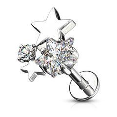 Labret Piercing Lippenpiercing Stab Sterne Stars Monroe Madonna Medusa Stecker Stud Zirkonia Kristalle Autiga®