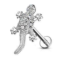 Labret Piercing Lippenpiercing Stab Gecko Eidechse Monroe Madonna Medusa Stecker Stud Zirkonia Kristalle Autiga®