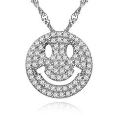 Damen Halskette Emoji Anhänger Zirkonia Kristall Autiga®