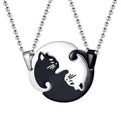 Damen Herren Partner-Halskette Katze Yin-Yang Edelstahl Anhänger Dog Tag Kugelkette Autiga®
