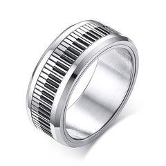cooler Edelstahl Ring Piano Klavier Herren Damen Spinner Drehring Autiga®