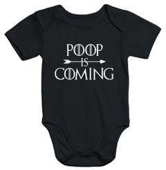 Kurzarm Baby Body Poop Is Coming lustig Spruch Baby Onesie Bio-Baumwolle Moonworks®