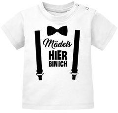 Baby T-Shirt kurzarm Babyshirt Mädels hier bin ich lustig Spruch Jungen Moonworks®