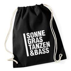 """Turnbeutel Techno Drogen """"Sonne Gras Tanzen und Bass"""" Festival-Beutel Moonworks®"""