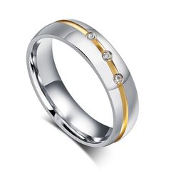 Partner-Ring Edelstahl Trauring Ehering Verlobungsring Bandring Damen Herren Zirkonia Kristalle Autiga®