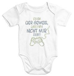 Kurzarm Baby Body Ich bin der Beweis dass Papa nicht nur zockt Gamer Zocker Nerd Spruch lustig Moonworks®