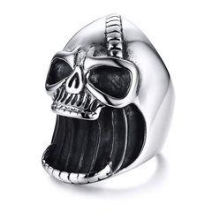 Herrenring Edelstahl lachender Totenkopf Flaschenöffner Lachen Skull Biker Gothic Autiga®