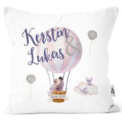 personalisierbare Kissen-Hülle zur Hochzeit, Hochzeitskissen Heißluftballon, Hochzeitsgeschenk Geldgeschenk Kissenhülle mit Schleife Moonworks®