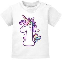 Baby T-Shirt kurzarm Babyshirt Einhorn Geburtstag 1 Jahr ein Jahr Mädchen Shirt Moonworks®