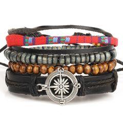 Lederarmband Herren 4-teilig Armband Kompass Rindsleder Holzperlen Vintage Autiga®