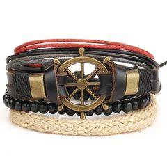 Lederarmband Herren 4-teilig Armband Steuerrad Rindsleder Hanf Holzperlen Vintage Autiga®