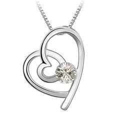 Damen Halskette Herz Heart Anhänger Zirkonia Kristall Autiga®