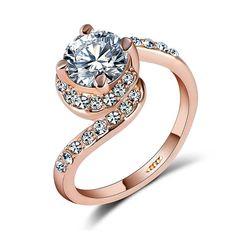 Verlobungsring Zirkonia Kristalle Damen-Ring Solitär-Ring Autiga®