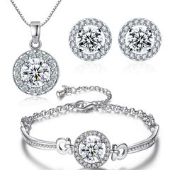 Damen Schmuck Set Halskette Ohrstecker Armband Zirkonia Kristalle Autiga®