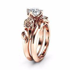 Damenring Zirkonia Stein Rose Verlobungsring Solitärring Bandring  Autiga®