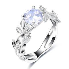 Damenring Zirkonia Stein Ranken Blätter Floral Verlobungsring Solitärring Bandring  Autiga®