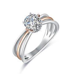 Verlobungsring Zirkonia Kristalle Damen Ring Solitär-Ring Zweifarbig Autiga®
