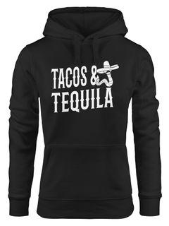 Kapuzen-Pullover Tacos & Tequila Wurm Sombrero Tequilla Mexikanisch Hoodie Moonworks®