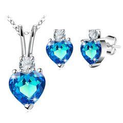 Damen Schmuck-Set Herz Heart Liebe Halskette mit Anhänger Ohrringe Ohrstecker Zirkonia Kristall Autiga®