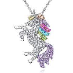 Damen Halskette Einhorn Anhänger Zirkonia Kristalle Autiga®