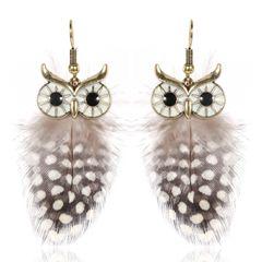 Ohrringe Ohrstecker Damen Eule Owl Feder Feather Ohrhänger Vintage Autiga®