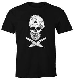 Herren T-Shirt Grillen Koch Totenkopf Messer Hipster Skull Chef Grill-Shirt Moonworks®