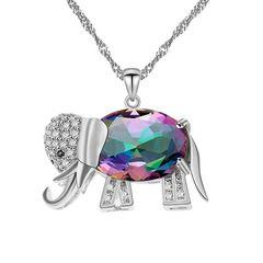 Damen Halskette Elefant Elephant Anhänger Zirkonia Kristalle Autiga®