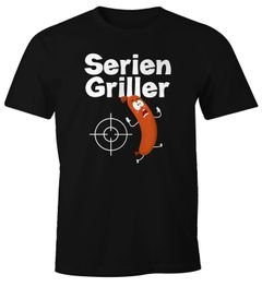 Herren T-Shirt Seriengriller Wurst Bratwurst lustig Grillen Fun-Shirt Moonworks®