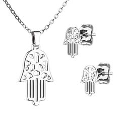 Damen Schmuck-Set Hamsa Hand der Fatima Halskette mit Anhänger Ohrhänger Ohrringe Ohrstecker Geschenk Autiga®