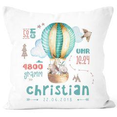 personalisierbares Kissen zur Geburt Heißluftballon, Geburtskissen Jungen Mädchen, Namenskissen Geschenk Geburt Baby Wunschname SpecialMe®