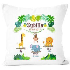 Geburtskissen Dschungel Safari Löwe Elefant Giraffe Namenskissen personalisierbares Kissen zur Geburt Junge Mädchen SpecialMe®