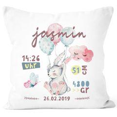 personalisierbares Kissen zur Geburt mit Hase, Geburtskissen, Namenskissen Geschenk Geburt Baby Mädchen Wunschname SpecialMe®